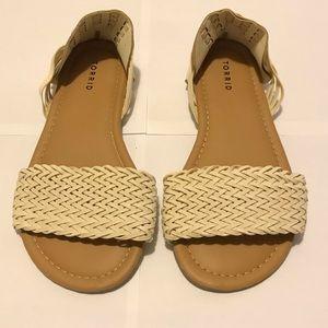 Torrid Cream Woven Flat Sandal